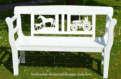 Geschenk für Mann und Frau Geschenk für Treckerfreunde Geschenk für Pferdefreunde Geschenk zum Geburtstag   eine besondere Geschenkidee zur Hochzeit Gartenbank weiss Pferdzucht Trecker Niedersachsen