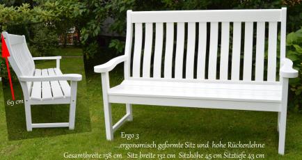 eine besondere Geschenkidee zur Hochzeit Geburtstag suchen Holz Gartenbank weiß Sylter Gartenbank  Arcadia