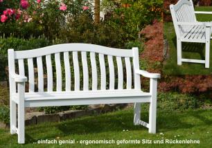 eine besondere Geschenkidee zur Hochzeit Geburtstag suchen Holz Gartenbank weiße Landhausbank