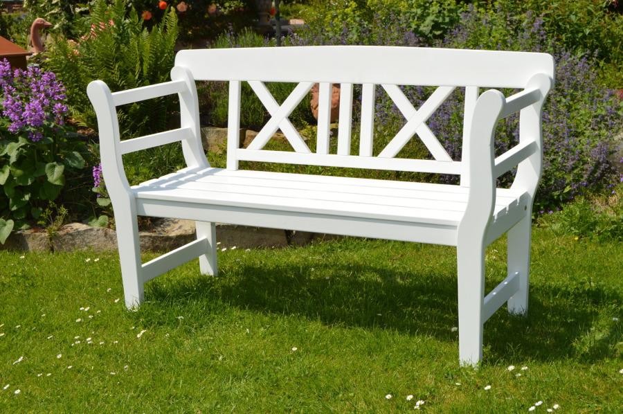 weiße gartenbank 2 sitzer
